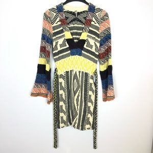 Free people boho sweater dress bell sleeve knit
